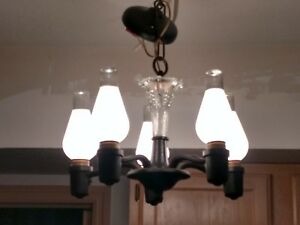 Vintage 5 Bulb Ceiling Country Kitchen Chandelier Hanging Light Crystal Accent