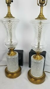 Exceptional Pair Of Crystal Lamps Hollywood Regency