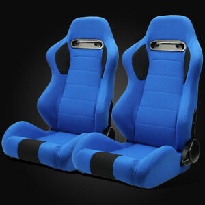 Universal Jdm Blue Pineapple Seat Fabric Left Right Racing Bucket Seats Slider
