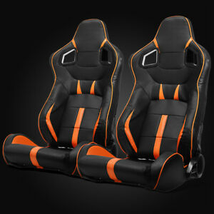 Universal Black Orange Strip Pvc Leather Left Right Racing Bucket Seats Slider