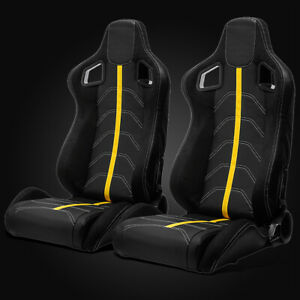 Universal Black Pvc Leather yellow Strip white Stitching Left right Racing Seats