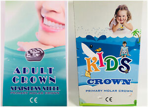 Dental Stainless Steel Primary Molar Pediatric Protect Kids Crown Adult Teeth