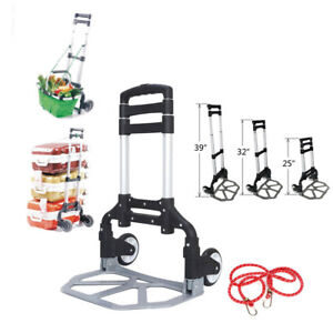 170lbs Portable Cart Folding Dolly Collapsible Aluminum Push Truck Trolley Black