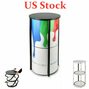 Us 41 7 Round Portable Aluminum Spiral Counter Display Case With Shelves Panels
