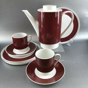 Vintage Melitta Burgundy Ceramic German Teapot Coffee Set Pot Cup Plate Germany