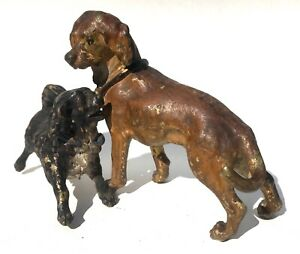 Antique Austrian Cold Painted Bronze Large Pair Of Dogs Playing Bergman