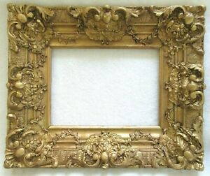 Antique Fits 8 X 11 Gold Gilt Picture Frame Rococo Wood Gesso Ornate Fine Art