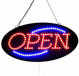 Oval Shape Led Open Store Sign on off Blinking Flashing Open 10x20 Inch