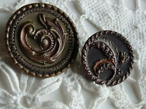 Lot Of 2 Antique Picture Buttons Victorian Feather Plumes 1 1 2