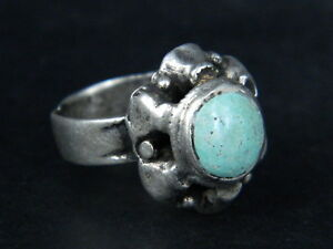Ancient Silver Ring With Stone Post Medieval 1800 Ad Stc290