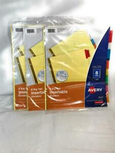 New Lot Of 3 Avery Write Erase Big Tab Paper Dividers Multicolor 8 Tabs set