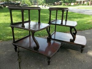Pair Of Rare Vintage Mersman Carved Mahogany Wood 3 Tier Side End Tables 7236