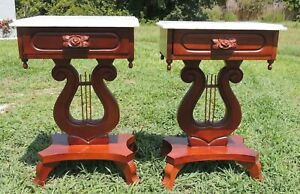 Pair Antique Victorian Mahogany Lyre Carved Roses Flower Marble Side End Tables