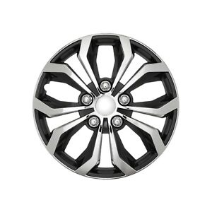 Set 4 Hubcaps 17 Wheel Cover Spa Chrome Black Abs Easy To Install Universal Fit