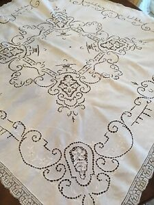 Vintage White Linen Tablecloth White Work Embroidery W Needle Lace Inserts