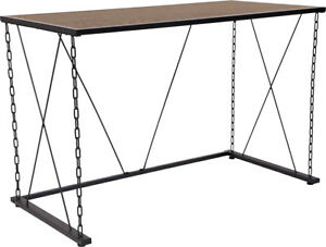 Vernon Hills Collection Antique Wood Grain Finish Computer Desk With Chain Ac