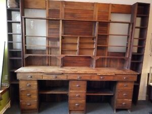 Antique Oak Apothecary Cabinet Wall