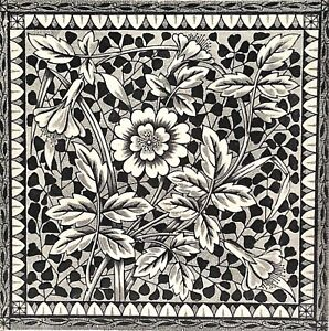 Antique Ceramic Transfer Tile Aesthetic Movement Botanical Black White