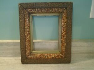 Antique Wood Eastlake Era Picture Frame Faux Marble Gesso Detail