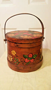 Hand Painted Wooden Firkin Type Bucket W Lid
