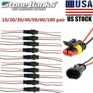 100pairs 2 pin Car Waterproof Male Female Two Way Electrical Connector Plug Wire