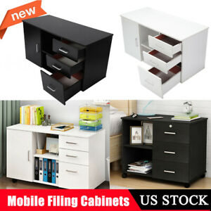Wood Drawer Filing Cabinet Mobile File Cabinets W 3 Drawers 1 Door Office Home