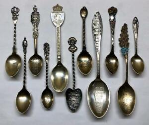 Lot Of 11 Vintage Sterling Silver Spoon Collection