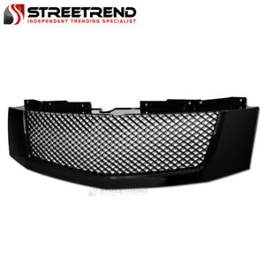 For 07 14 Cadillac Escalade Black Badgeless Mesh Front Bumper Grill Grille Abs