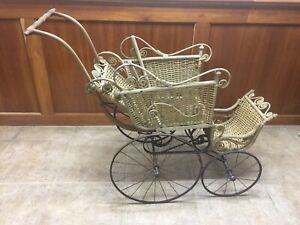 Antique Victorian Wicker Baby Stroller Buggy Carriage By E A Whitney Co