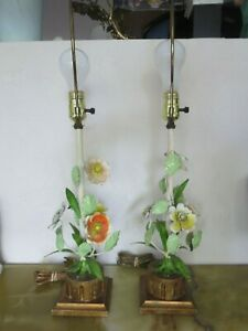 Pair Of Antique Tole Italian Floral Table Lamps