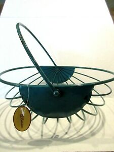 French Country Wire Basket Flower Egg Gathering Swivel Handle New