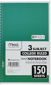 Mead Spiral Notebook 3 Subject College Ruled Paper 150 Sheets 9 1 2 X 5 1 2