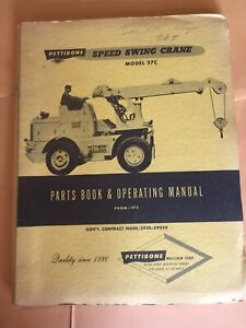Pettibone 27c Speed Swing Crane Lift Parts Book Operating Maintenance Manual