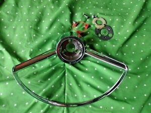 1965 1966 1967 Chevy Corvair Monza Steering Wheel Horn Ring Chrome Used Oem Xlnt