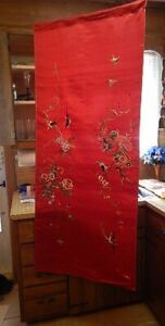 Vintage 1950 S Japanese Wall Hanging Red Satin With Embroidery Birds Flowers