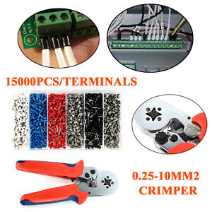 1500pcs Terminal 0 25 10mm Bootlace Ferrule Crimping Tool Cord Wire End Plier