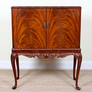Antique Vintage Cocktail Cabinet Bar Flamed Mahogany Glass