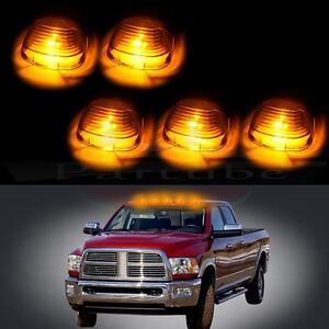 5pcs Smoke Roof Clearance Light Cab Marker Cover Amber Led Bulb For Ford F 250