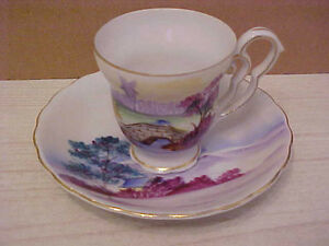 Vintage Ucagco Made In Japan Japanese Scene Porcelain Dainty Cup Saucer
