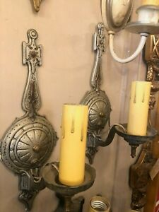 Pair Vintage 1920s Aluminum Compass Style Wall Sconces Re Wired