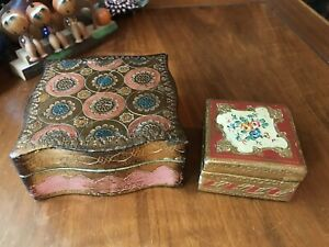 Vintage Estate Italian Florentine Painted Gilded Wood Trinket Box Lot