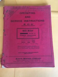 Austin Western No 471 Operating And Service Instructions Model Power Grader 471b