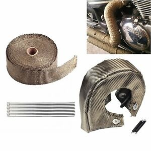 T4 Titanium Turbo Heat Shield Blanket Cover 2 Exhaust Header Wrap Tape W ties