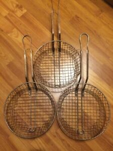 3 Commercial Deep Fryer Baskets 10 Inches X 3 Inches Used