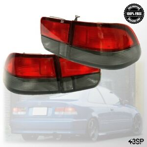 For 96 00 Honda Civic Coupe Red Smoke 2dr Rear Brake Lamps Tail Lights Set 98 99