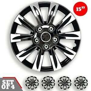 Set Of 4 Hubcaps 15 Wheel Cover Marina Black Chrome Abs Quality Easy To Install
