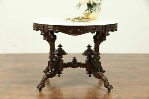 Victorian Antique 1850 S Oval Marble Top Parlor Hall Or Lamp Table 31201