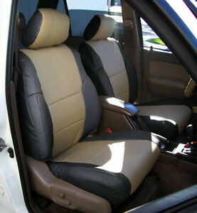 Toyota 4runner 1996 2002 Black Beige S Leather Custom Made Fit Front Seat Covers