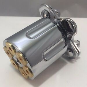 Chrome Steering Wheel Spinner Suicide Knob 44 Mag Gun Revolver