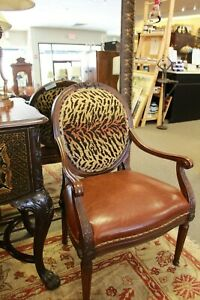Hancock Moore Oval Back Arm Chair With Animal Print And Leather Upholstery